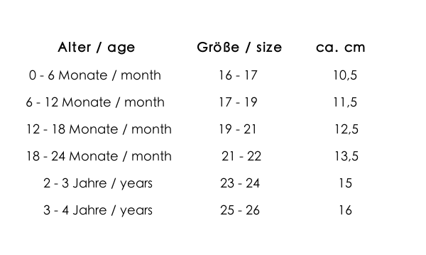 size chart bilingual - 0 bis 4