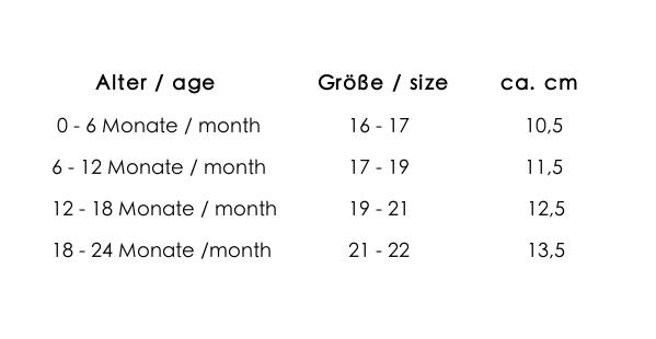 size chart bilingual